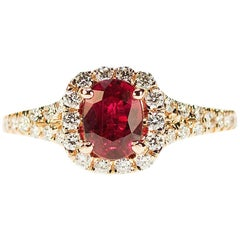 Rose Gold Ring with AGL Certified Ruby