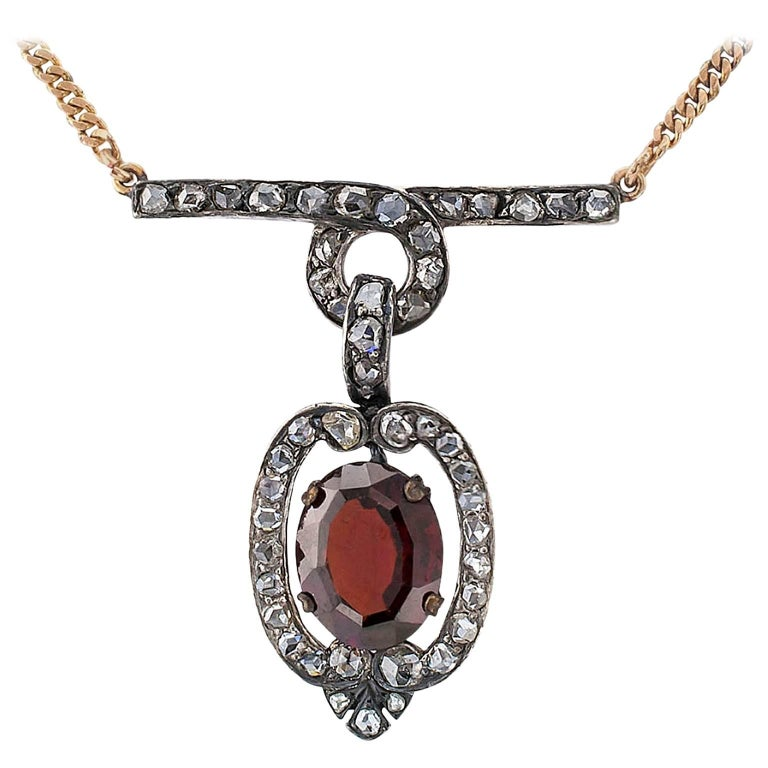 Victorian 1880s Garnet Rose Cut Diamond Gold Silver Necklace