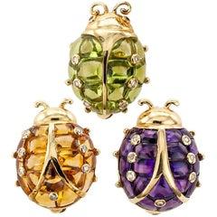 1970s Gem Set Ladybug Trio Gold Brooches