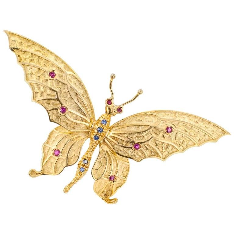 Tiffany & Co. 1960s Butterfly Ruby Sapphire Gold Brooch