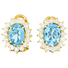 Aquamarine and Diamond-Set Gold Earrings