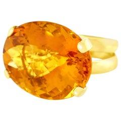 Modernist 51 Carat Maderine Citrine Set Gold Ring