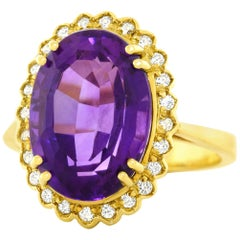 1960s Amethyst and Diamond Set Gold Ring