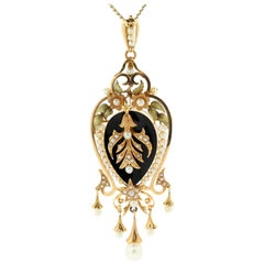 Antique Onyx Natural Pearls Gold Pendant