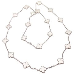 Van Cleef & Arpels 20 Mother-of-Pearl Alhambra White Gold Necklace