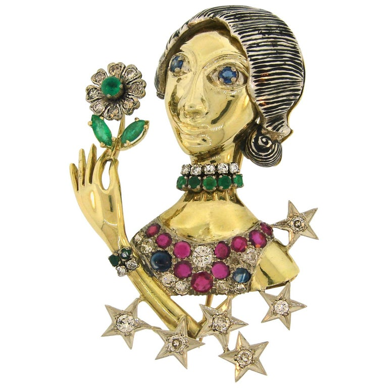 Diamond Ruby Sapphire Emerald Gold Woman with Flower Brooch Pin Clip