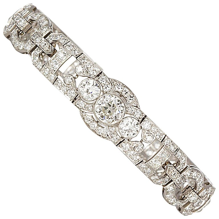 Art Deco Diamond and Platinum Bracelet 10.19 Carat