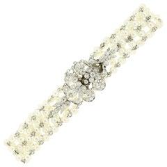 Edwardian Natural Pearl Diamond Bracelet