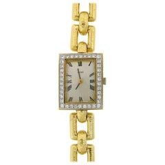 David Webb Ladies Platinum Yellow Gold Diamond Wristwatch, 1980s
