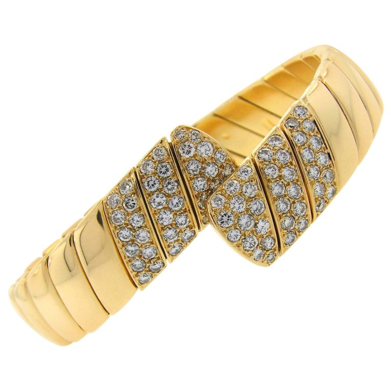 Cartier Diamond Yellow Gold Bangle Bracelet