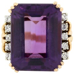 Vintage Amethyst Diamond Gold Ring