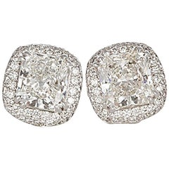 Michael Beaudry Platinum and Radiant Diamond Cushion Halo Stud Earrings