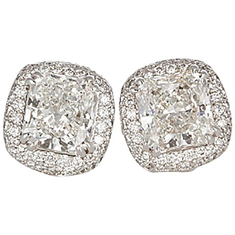 Michael Beaudry Platinum and Radiant Diamond Cushion Halo Stud Earrings For Sale