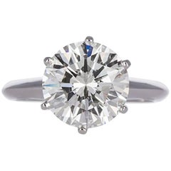 Tiffany & Co. Platinum and Round Diamond Solitaire Engagement Ring 3.10 Carat