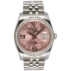 Rolex Stainless Steel Datejust Diamond Bezel Pink Flower Dial wristwatch