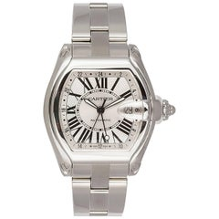 Cartier Stainless Steel Roadster XL GMT Wristwatch Ref W62032X6