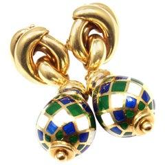 Vintage Mauboussin Harlequin Enamel Drop Yellow Gold Earrings
