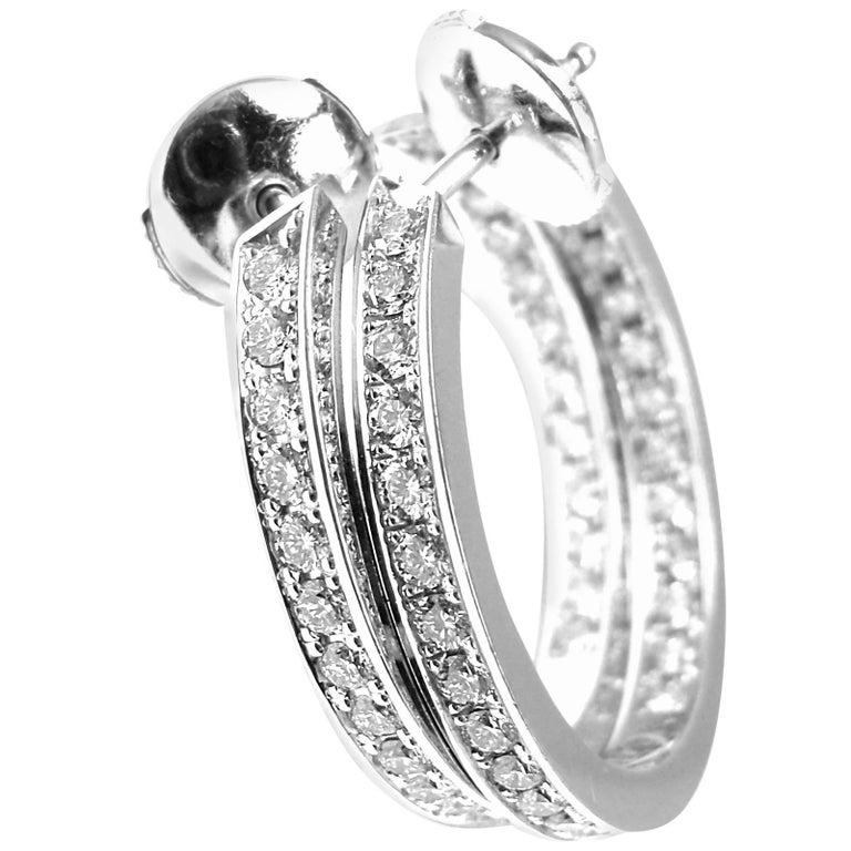 Cartier Inside Out Diamond Hoop White Gold Earrings