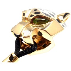 Cartier Panther Panthere Tsavorite Lacquer Cord Yellow Gold Pendant Necklace