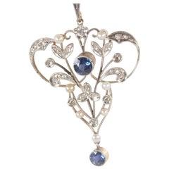 Belle Époque Sapphire Diamond Pearl Pendant