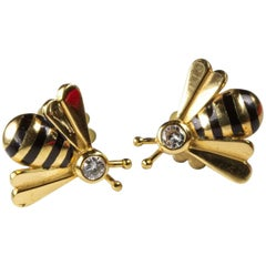 Gold Enamel and Diamond Bee Shaped Stud Earrings