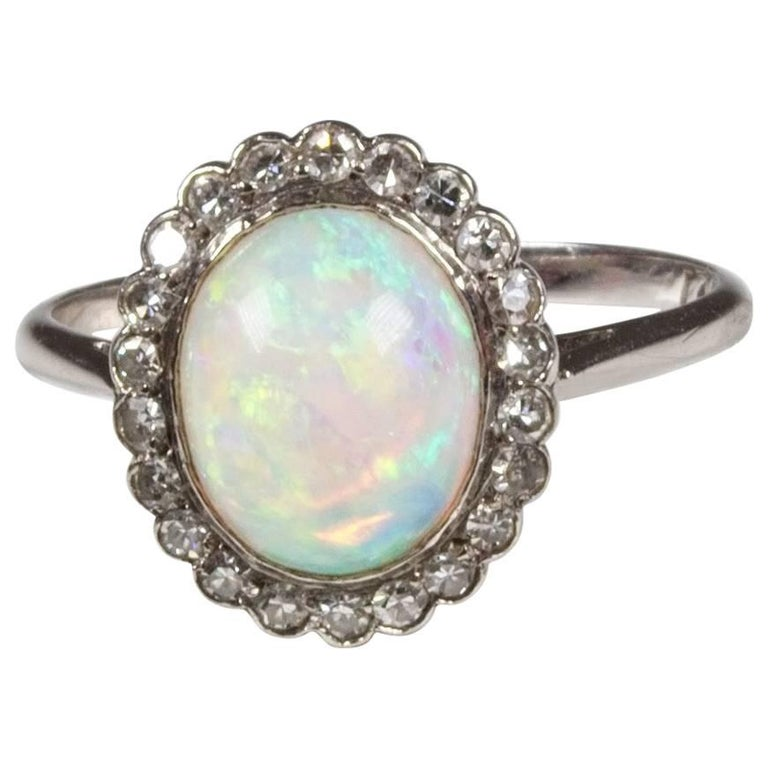platinum opal cluster ring edwardian for sale at