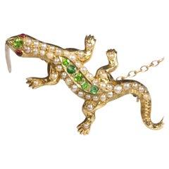 Duggin Shapere Australian Colonial Lizard Brooch Demantoid Garnet Ruby Pearl
