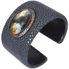 Large Rosecut Labradorite, Diamonds and Shagreen Cuff Bracelet