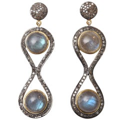 Double Cabochon Labradorite and Diamond Figure 8 Earrings