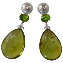 Michael Kneebone Green Amber Peridot Pearl Diamond Dangle Earrings