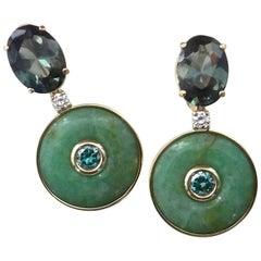 Michael Kneebone Burmese Jadeite Tourmaline Diamond Zircon Dangle Earrings
