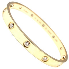 Cartier Love Ten Diamond Yellow Gold New System Bangle Bracelet