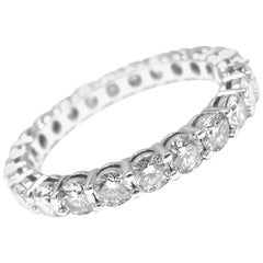Tiffany & Co. Diamond Shared Setting Wide Platinum Band Ring