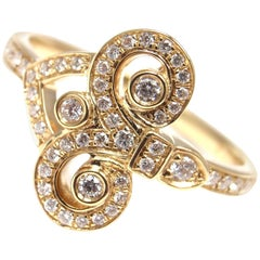 Tiffany & Co. Fleur-de-Lis Key Diamond Yellow Gold Band Ring