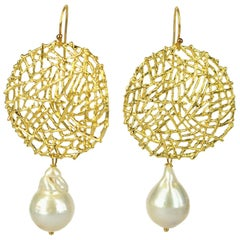 Decadent Jewels Baroque Teardrop Pearl Gold Earrings