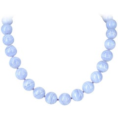 Decadent Jewels Blue Lace Agate Silver Necklace