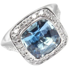 Tiffany & Co. Legacy Diamond 2.07 Carat Aquamarine Platinum Ring