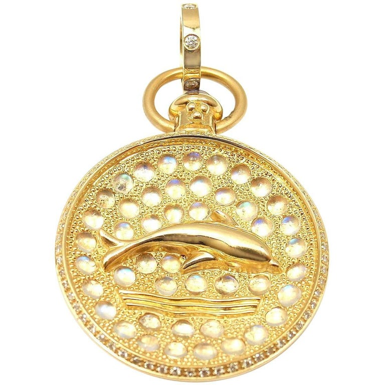 Temple St Clair Diamond Moonstone Sapphire Aqua Dolphin Yellow Gold Pendant For Sale
