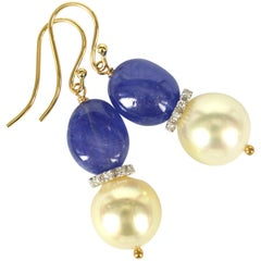 Decadent Jewels Tanzanite South Sea Pearl Diamond Gold Earrings