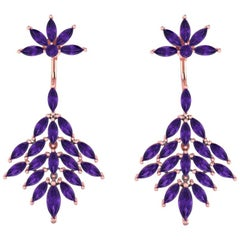 Ferrucci Marquise Amethyst Dangling Earrings Handmade in 18 Karat Gold for Irma