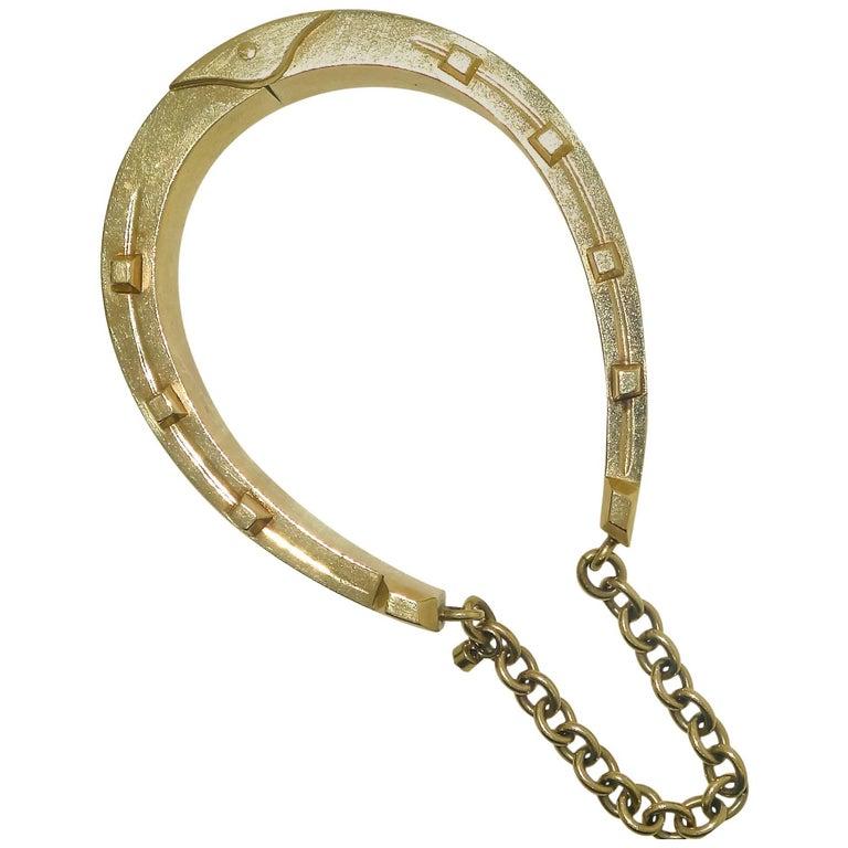 Antique Gold Horse-Shoe Motif Bracelet. For Sale