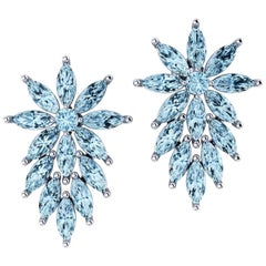 Ferrucci 6.50 Carat Aquamarine Marquise Earrings in 18 Karat White Gold for Irma