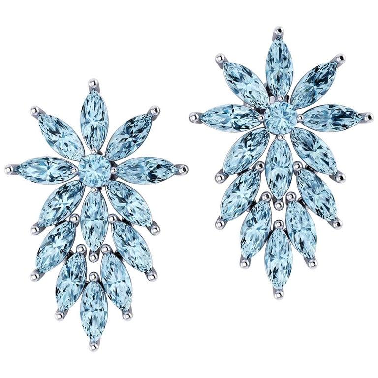 Ferrucci 6.50 Carat Aquamarine Marquise Earrings in 18 Karat White Gold for Irma