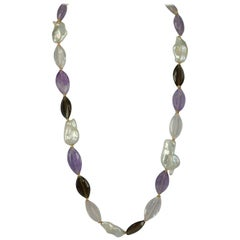 Decadent Jewels Amethyst Smokey Quartz Rose Quartz Ellipse Pearl Gold Necklace