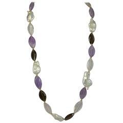 Decadent Jewels Amethyst Smokey Quartz Rose Quartz Ellipse Pearl Gold Necklace
