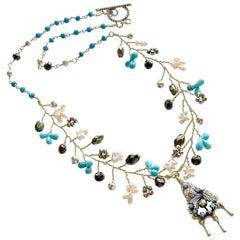 Turquoise Pyrite Pearls Pajaritos Pendant Necklace