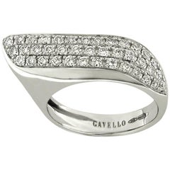 Gavello White Gold Diamond Pavé Wing Shaped Band Ring