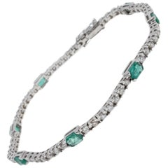 Luise ct 1,51 Diamond and ct 1,54 Emerald Tennis Bracelet
