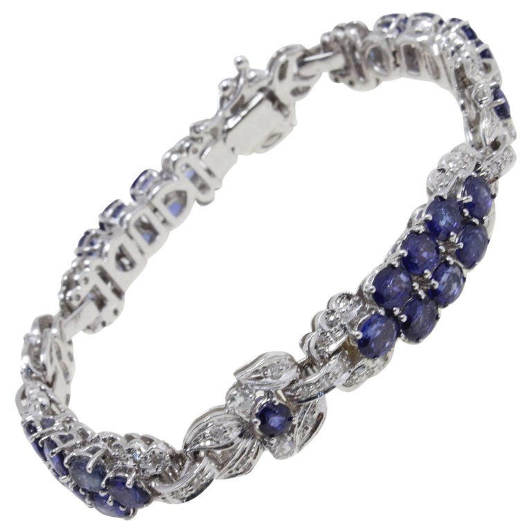 kt 1,57 Diamonds and kt 16,80 Blue Sapphires Link Bracelet