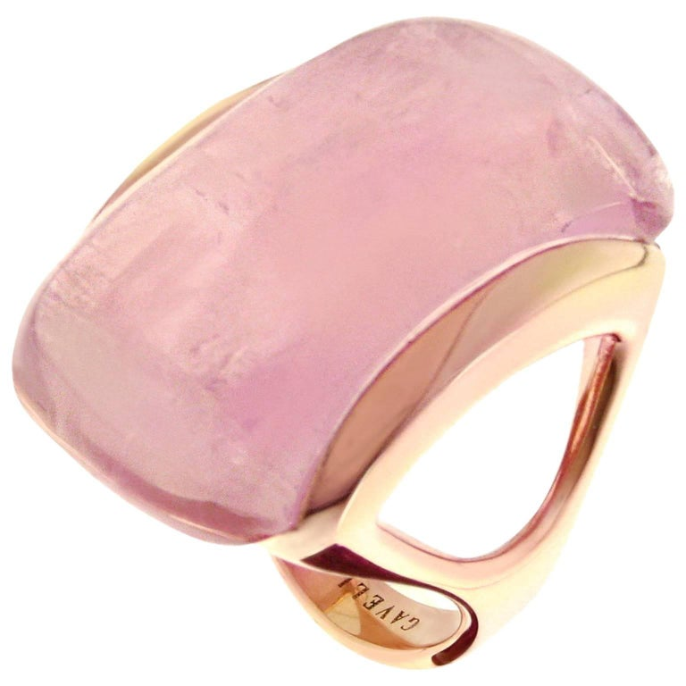 Gavello Rose Gold Candy Pink Quartz Contemporary Cocktail Ring